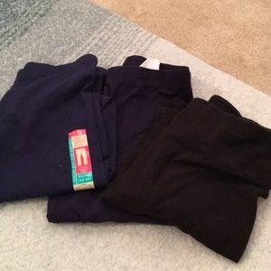 Bundle of three blue/black leggings size 14